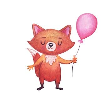 Akwarela ładny lis z różowym balonem na białym tle.