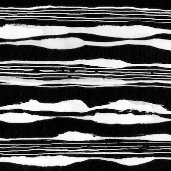 Akwarela linia streszczenie gór. ciekły, minimalistyczny tusz czarny.