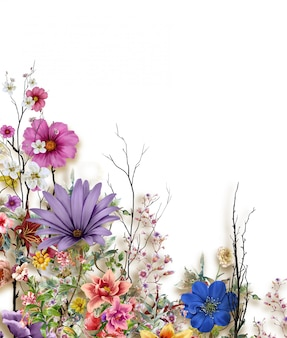 Akwarela Liść I Kwiat, Na Białym Tle Premium Zdjęcia