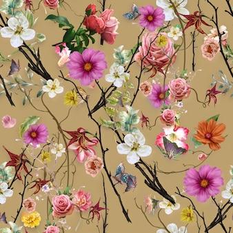 Akwarela liść i kwiaty, bezszwowy deseniowy tło