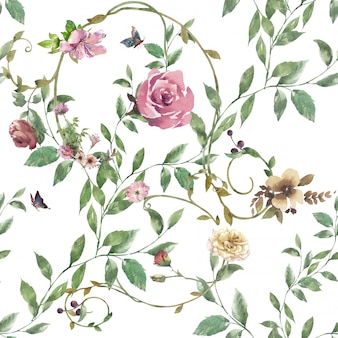 Akwarela liść i kwiaty, bezszwowy wzór na białym tle