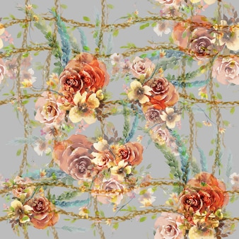 Akwarela liść i kwiaty, bezszwowy wzór na szarym tle
