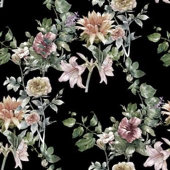 Akwarela liść i kwiaty, bezszwowy wzór na zmroku