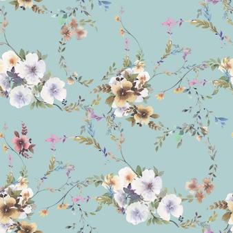 Akwarela, liść i kwiaty, wzór
