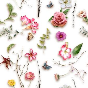 Akwarela, liść i kwiaty