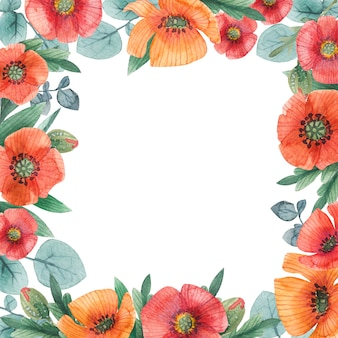 Akwarela liści i kwiatów romantyczna ramka vintage kwadratowa ramka z pomarańczowymi i czerwonymi makami