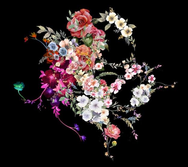 Akwarela liści i kwiatów