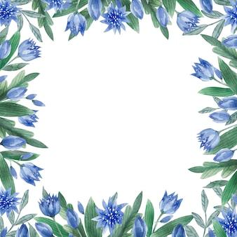 Akwarela liście i kwiaty romantyczna ramka vintage kwadratowa ramka z ziołami, kwiatami i liśćmi