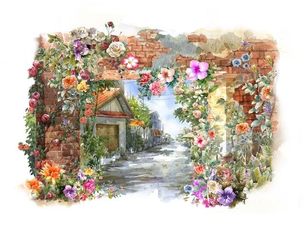 Akwarela malarstwo abstrakcyjne kolorowe kwiaty. wiosna z budynkami i ścianami