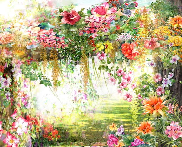 Akwarela malarstwo abstrakcyjne kwiaty.