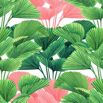 Akwarela malarstwo kolorowe tropikalne liście tło wzór.