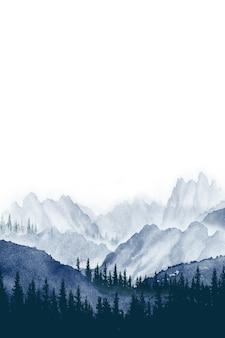 Akwarela malarstwo krajobraz panorama sosnowego górskiego lasu w tle niebieski z szarym
