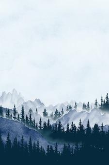 Akwarela malarstwo krajobraz panorama sosnowego górskiego lasu w tle