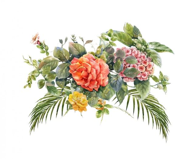 Akwarela malarstwo liści i kwiatów na białym tle