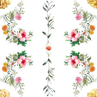 Akwarela malarstwo liści i kwiatów, wzór na białym tle