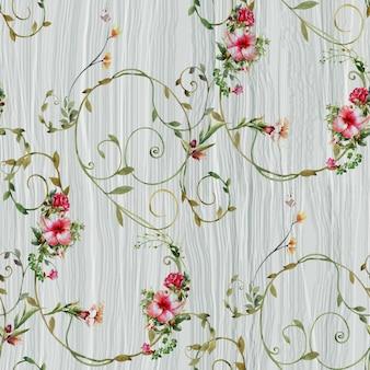 Akwarela malarstwo liści i kwiatów wzór