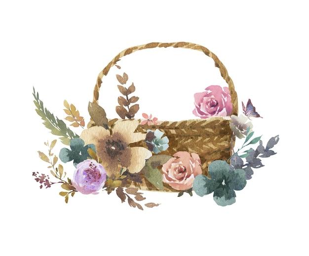 Akwarela malarstwo liści i kwiatów z wiklinowymi koszami na białym tle
