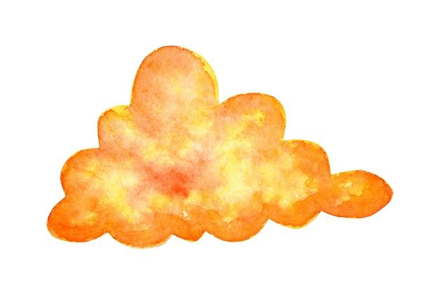 Akwarela malarstwo pomarańczowa chmura doodle kraina fantazji bajeczna pogoda magiczny świat
