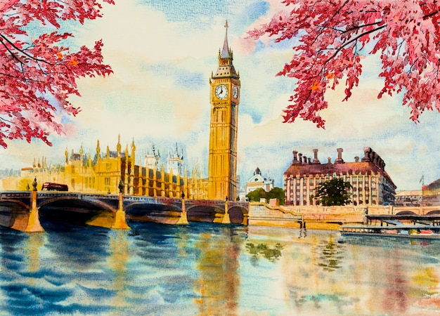 Akwarela malarstwo wieża zegarowa big ben i rzeki tamizy