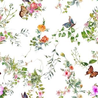 Akwarela malarstwo wzór liści i kwiatów na białym tle