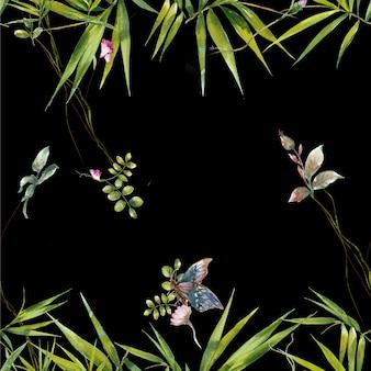 Akwarela malarstwo wzór liści i kwiatów na ciemnym tle