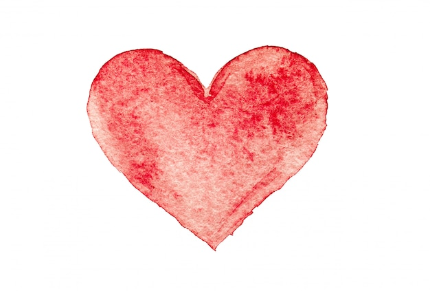 Akwarelą malowaną czerwone serce, element projektu