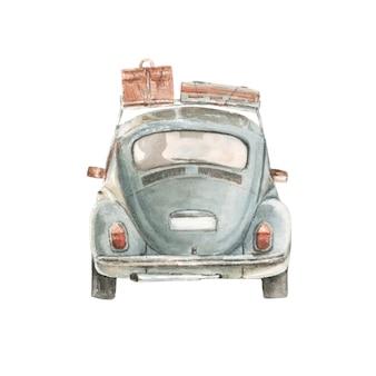 Akwarela mały samochód z walizkami