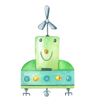 Akwarela mały zielony robot ze śmigłem na białym tle.