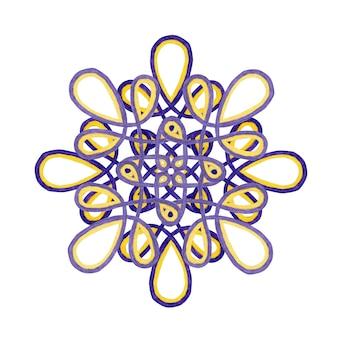 Akwarela mandali w kolorach fioletowym i żółtym. koronki ornament na białym tle. element wystroju.