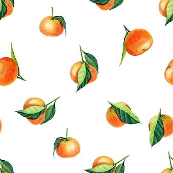Akwarela mandarynka z liśćmi
