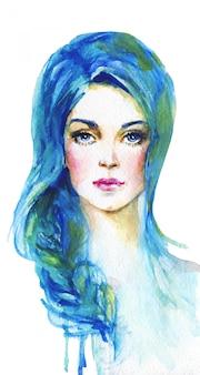 Akwarela młoda kobieta o niebieskich włosach. ręcznie rysowane portret damy. malowanie ilustracja moda na białym tle