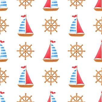 Akwarela morski wzór z drewnianym statkiem, kierownica.