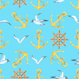 Akwarela morskich wzór