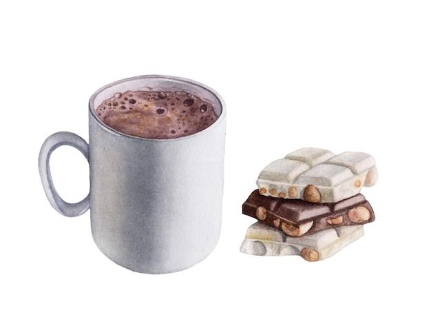 Akwarela napój kakaowy, czekolada na białym tle.
