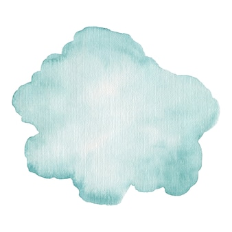 Akwarela niebieska plama na białym tle