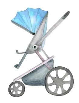Akwarela niebieski wózek