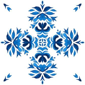Akwarela niebieski wzór adamaszku, renesansowy ornament kafelkowy indygo. dachówka ceramiczna azulejo talavera.