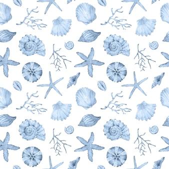 Akwarela niebieski wzór życia podwodnego. muszle morskie, gwiazdy i zwierzęta wodne. wzór podmorski.
