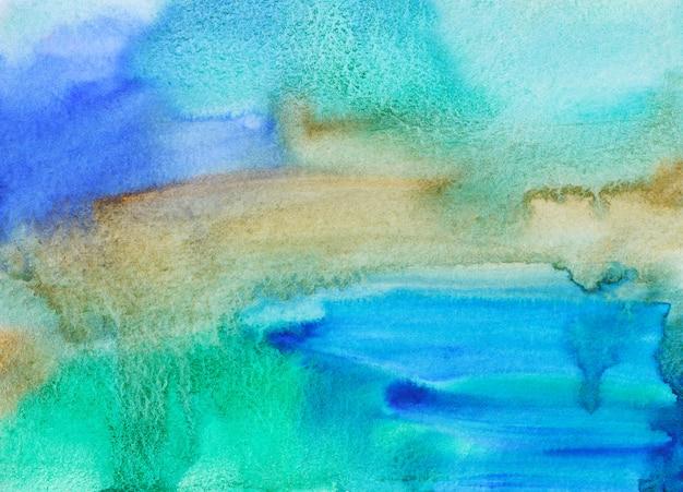 Akwarela niebieskie i brązowe i zielone tło malowanie tekstury