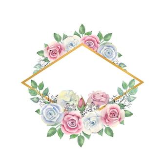 Akwarela niebieskie i różowe kwiaty róże, zielone liście, jagody w złotej ramie