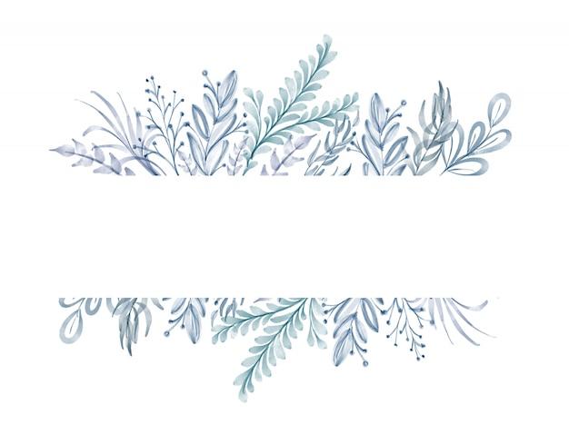 Akwarela niebieskie liście ramki