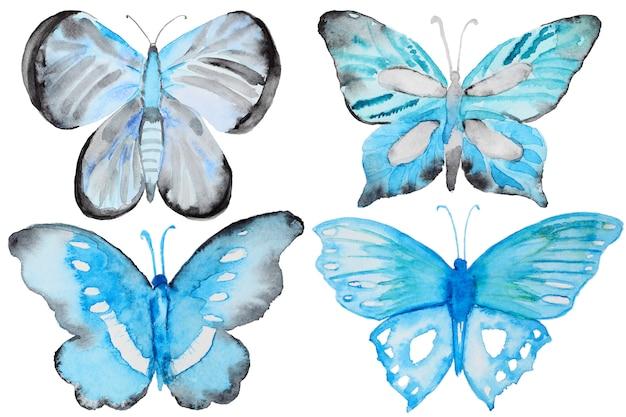 Akwarela niebieskie motyle zestaw na białym tle