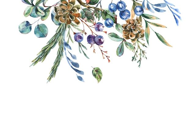 Akwarela niebieskie zimowe kwiaty z miejsca na kopię