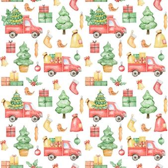 Akwarela nowy rok wzór, wesołych świąt bożego narodzenia tło, boże narodzenie ciężarówka, świerk, wzór