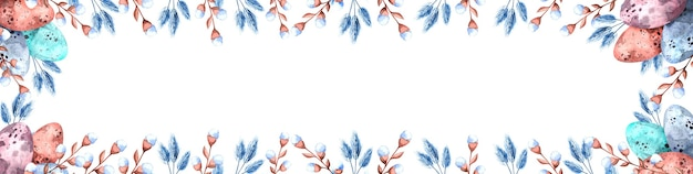 Akwarela obramowanie z kolorowymi pisankami i gałązkami wierzby na wielkanoc na białym tle, wesołych świąt wielkanocnych ilustracja na święta, opakowanie, baner internetowy