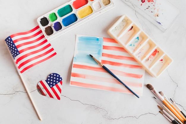Akwarela obraz flagi amerykańskiej