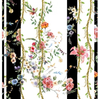 Akwarela obraz liść i kwiaty, bezszwowy wzór na białym tle