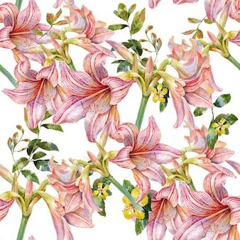 Akwarela obraz liścia i kwiatów bezszwowy wzór na bielu