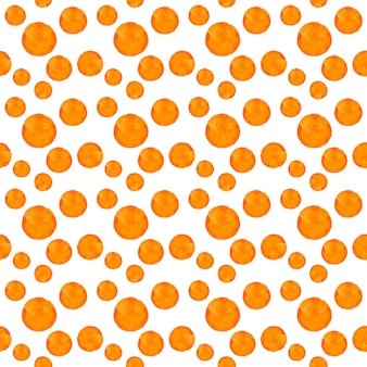 Akwarela okrągłe plamy kropki wzór. wzór z pomarańczowymi kropkami na białym tle. ręcznie rysowane streszczenie tapeta