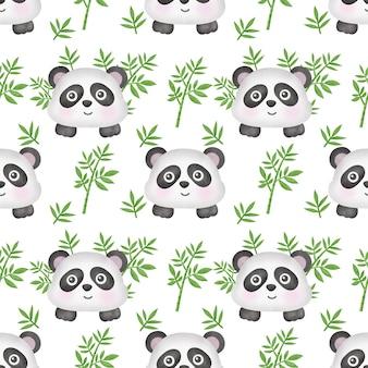 Akwarela panda z bambusowym wzorem bez szwu